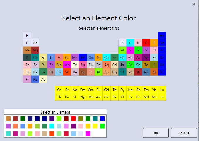 APEX™ element color selector window